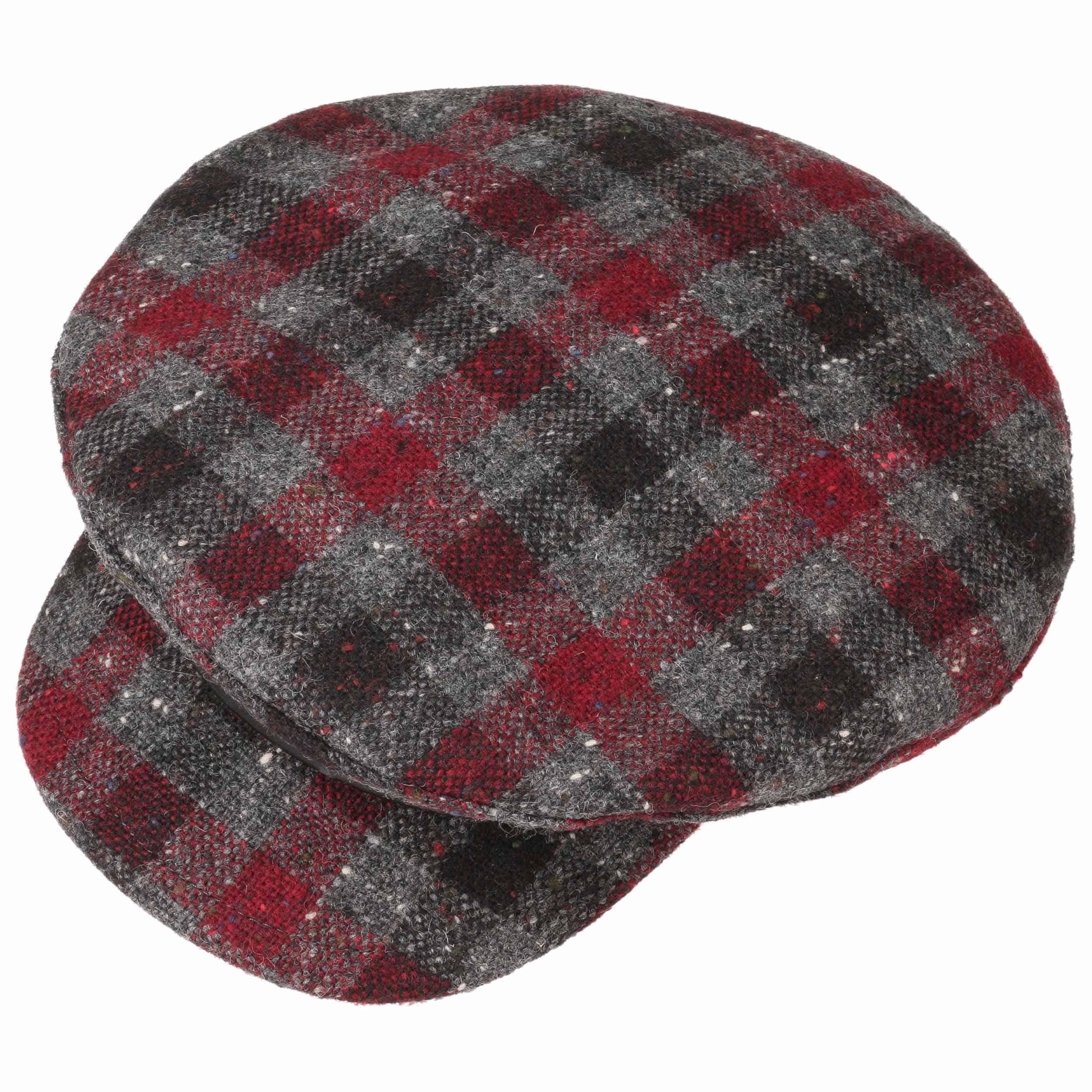 Cappello Baker Boy a Quadri by Lierys - grigio-rosso 1 ... f3ebca5e5c86