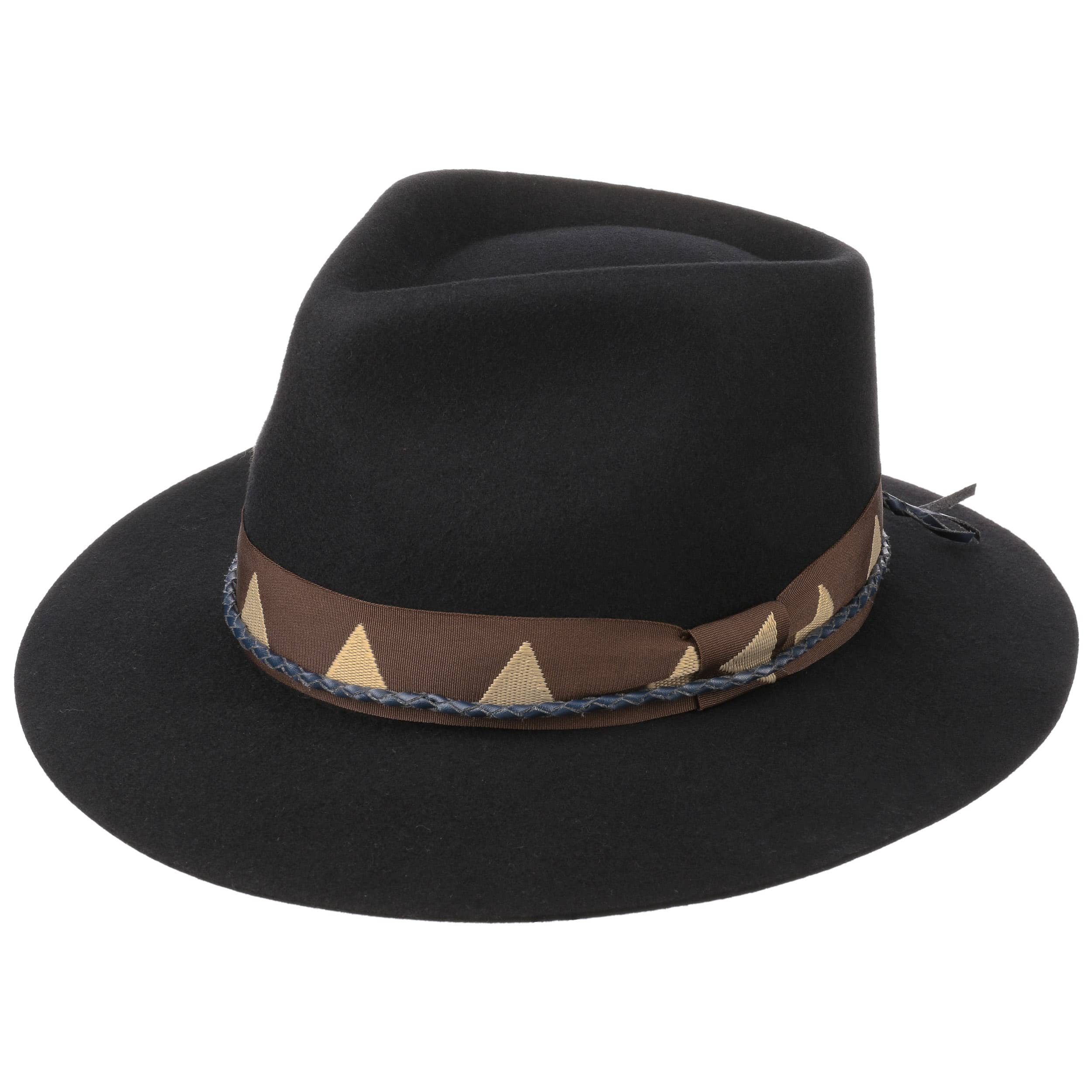 Cappello Fedora da Uomo O Donna IN 100/% Lana di Feltro//Cappello Cowboy Nero