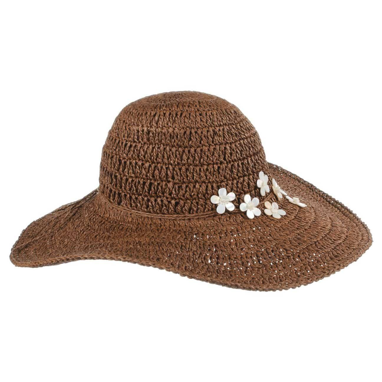 Crochet Toyo Cappello a Tesa Larga - marrone 1 ... 5da7f3485852
