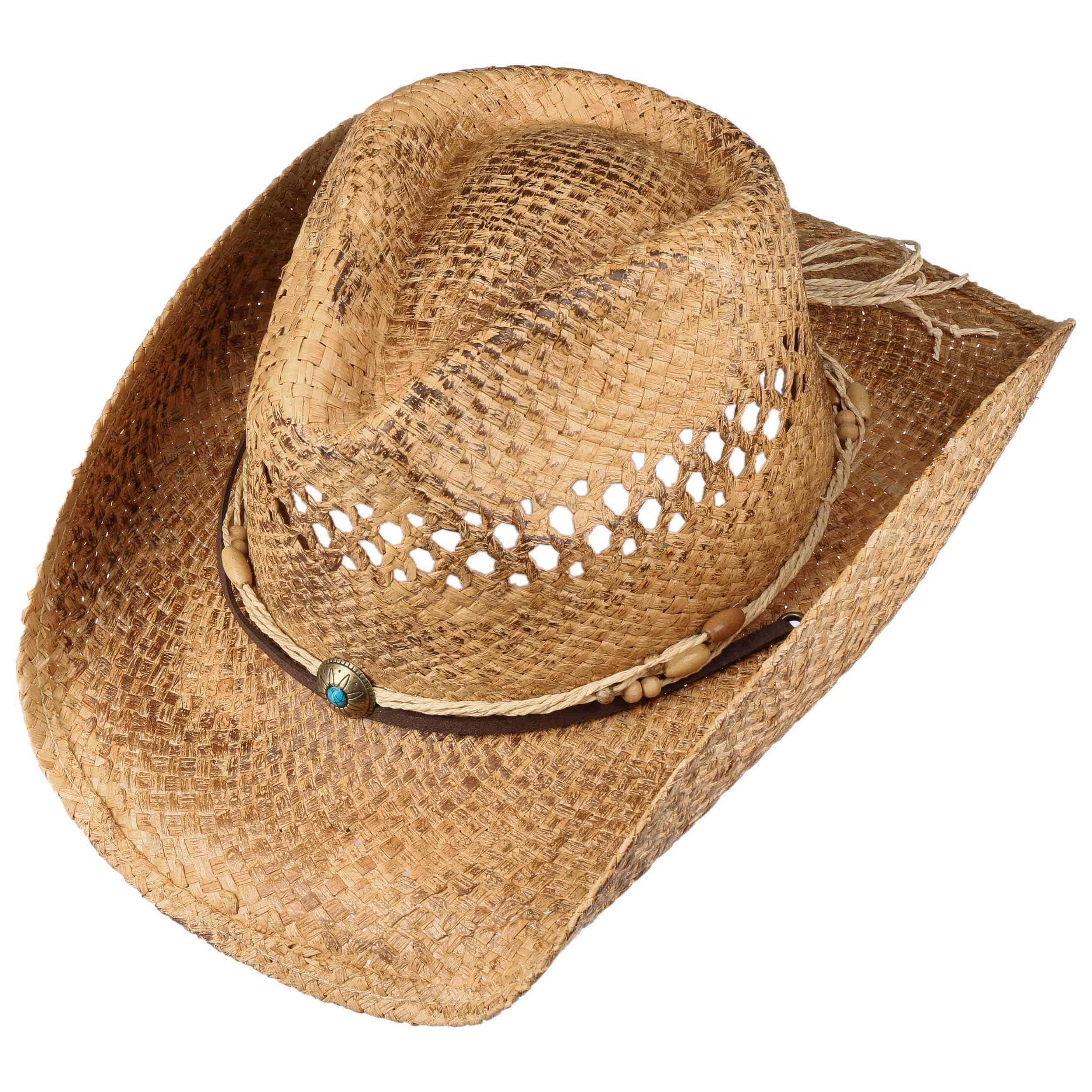 Paglia Cappello da Cowboy Marrone con Marrone Perline